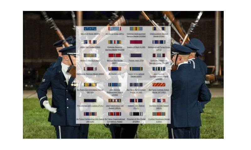 A photo illustration superimposes a screen grab showing Air Force awards and decorations on top of an image depicting the Air Force Honor Guard Drill Team performing in Washington, D.C., on Sept. 22, 2016. The Air Force announced Friday, Jan. 13, 2017, that officials are recommending 12 medals awarded to airmen be upgraded for their actions taken since 2001 in the war on terror. (Background image Jordyn Fetter/U.S. Air Force)