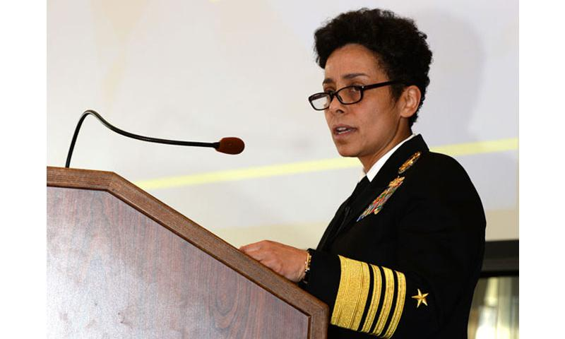 Vice Chief of Naval Operations (VCNO) Adm. Michelle Howard provides keynote speaker remarks during the 2015 Women, Peace and Security conference at U.S. Naval War College in Newport, Rhode Island. The 2015 conference served as an opportunity to hold discussions related to the implementation and sustainment of Women, Peace and Security in the security sector and preserve an active Women, Peace and Security agenda. (U.S. Navy photo by Chief Mass Communication Specialist James E. Foehl/Released)