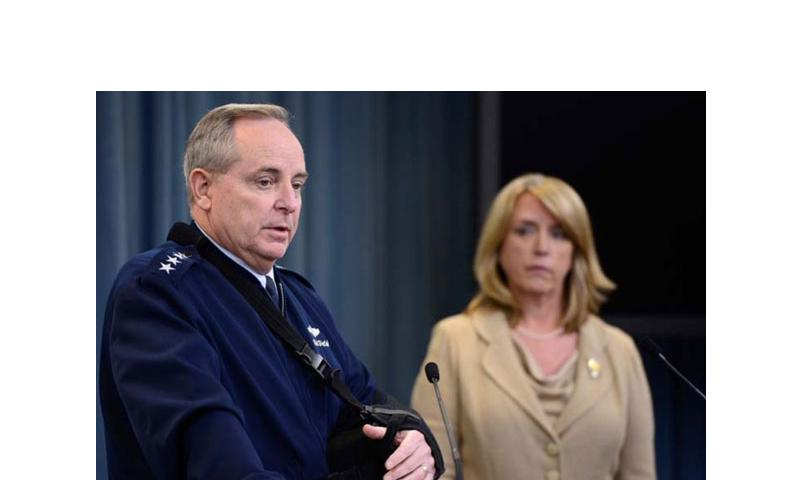 Air Force Chief of Staff Gen. Mark A. Welsh III and Secretary of the Air Force Deborah Lee James speak at the Pentagon about an investigation involving missile launch officers cheating on proficiency tests, Jan. 15, 2014. (Scott M. Ash/U.S. Air Force)