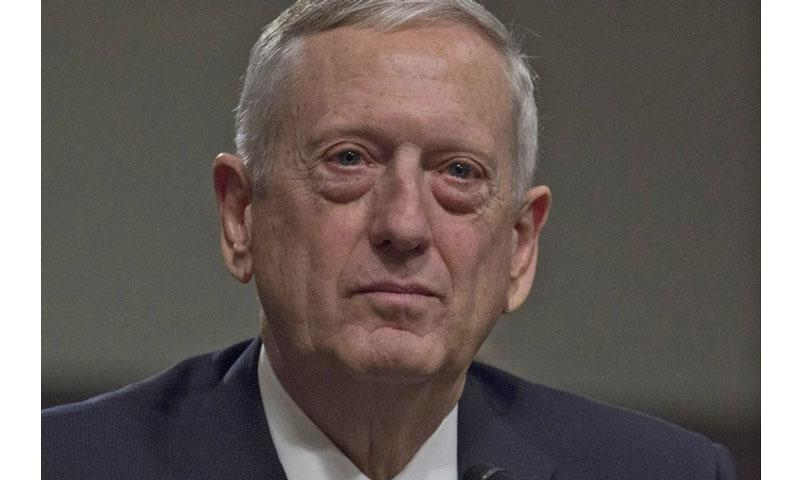 Retired Gen. James Mattis listens to opening statements during his secretary of defense confirmation hearing on Capitol Hill, Jan. 12, 2017. (JOE GROMELSKI/STARS AND STRIPES)