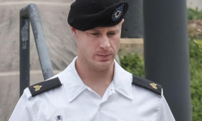 Sgt. Bowe Bergdahl leaves the courtroom for lunch break on Monday, Aug 22, 2016, at Fort Bragg, (N.C. RAUL R. RUBIERA/THE FAYETTEVILLE OBSERVER VIA AP)