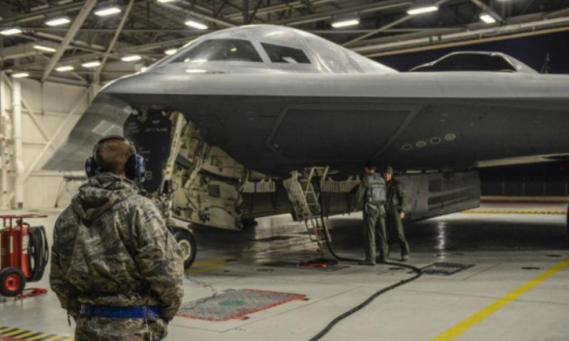 Airmen from the 509th Bomb Wing at Whiteman Air Force Base, Mo., prepare a B-2 Spirit stealth bomber Wednesday, Jan. 18, 2017, for operations near Sirte, Libya. (JOEL PFIESTER/U.S. AIR FORCE)