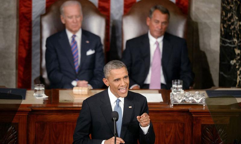 President Barack Obama delivers the State of the Union address on Tuesday, Jan. 20, 2015, in the House Chamber of the U.S. Capitol in Washington, D.C. (Olivier Douliery/Abaca Press via TNS)