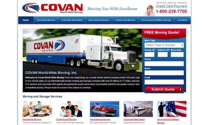 Covan World-Wide Moving's website, Covan.com, touts the company's government and military moving services. (Covan.com)