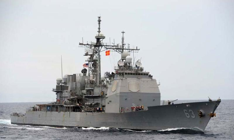 The USS Cowpens, a guided-missile cruiser, on patrol in the South China Sea as a part of the George Washington Carrier Strike Group, Oct. 24, 2013. (Declan Barnes/U.S. Navy)