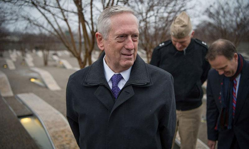 Secretary of Defense James Mattis visits the Pentagon Memorial in Washington, D.C., Jan. 23, 2017, to pay his respects to those who died in the 9/11 terrorist attacks. (JETTE CARR/U.S. AIR FORCE)