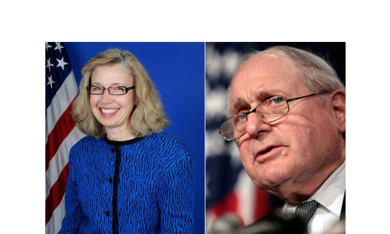 Christine Fox (left), acting deputy secretary of defense and Carl Levin, D-Mich., chairman of the Senate Armed Services Committee. (Department of Defense and Chuck Kennedy/MCT)