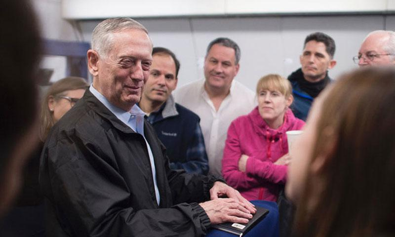 Secretary of Defense Jim Mattis answers questions during a flight to Korea. on Feb. 1, 2017. (AMBER I. SMITH/U.S. ARMY)