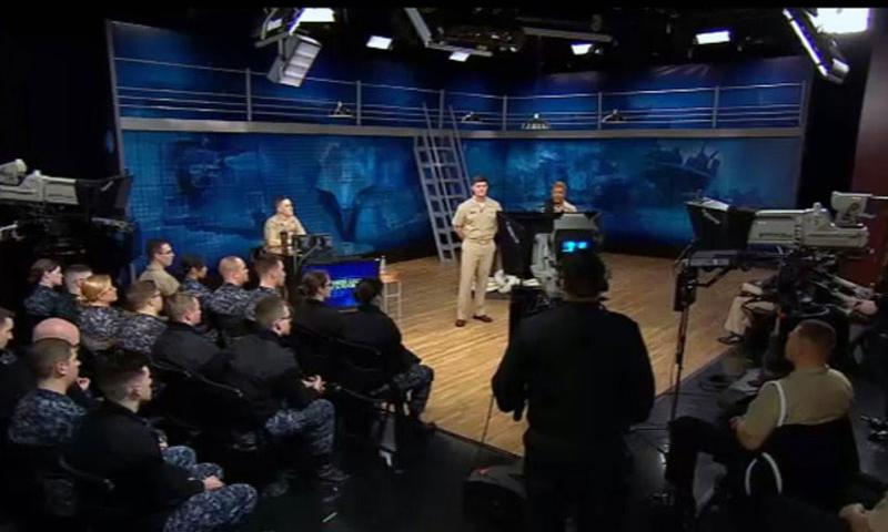 A video screen grab shows Chief of Naval Personnel Vice Adm. Bill Moran and Master Chief April Beldo, Fleet Master Chief for Manpower, Personnel, Training and Education, answering sailors' questions during a live call-in show on Tuesday, Feb. 3, 2015.