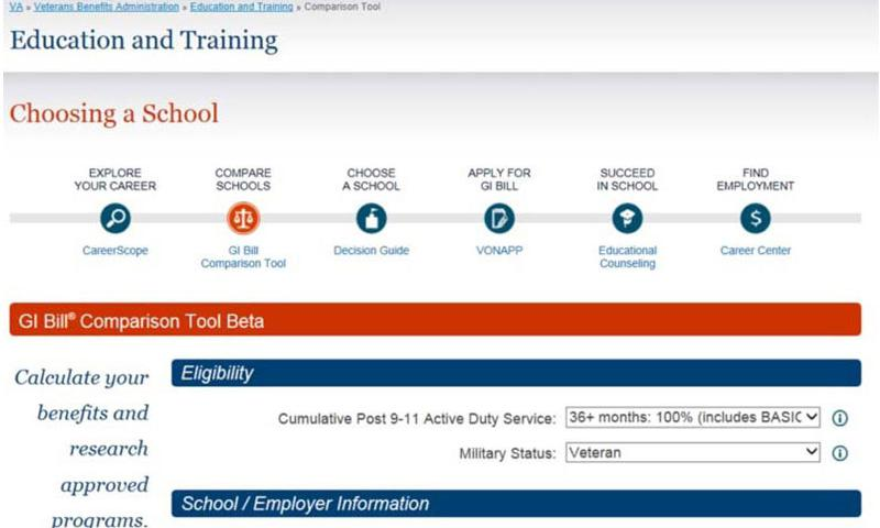 The Department of Veterans Affairs has launched a new tool to help servicemembers, veterans and their families calculate Post-9/11 GI Bill benefits and compare schools and training programs nationwide. (Post-9/11 GI Bill benefits tool)