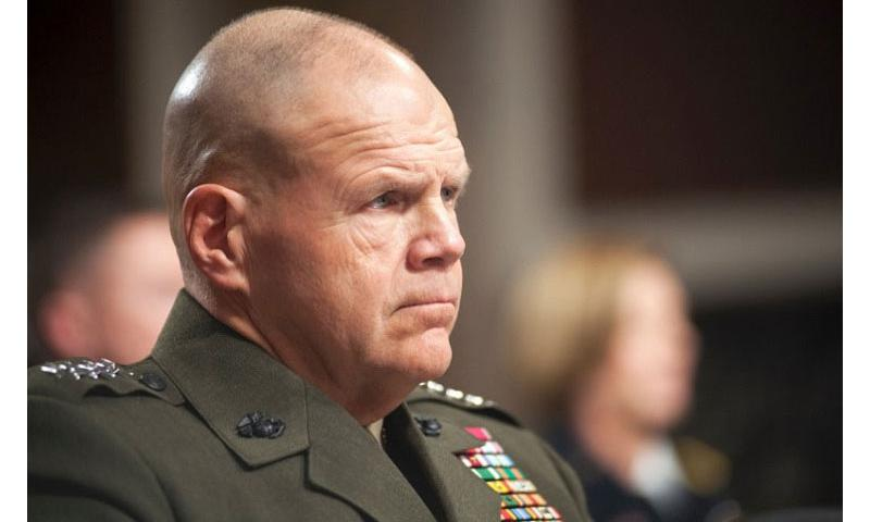 Marine Corps Commandant Gen. Robert Neller listens to comments during a Senate Armed Services Committee hearing on Capitol Hill in Washington on Tuesday, Feb. 2, 2016. (Carlos Bongioanni/Stars and Stripes)