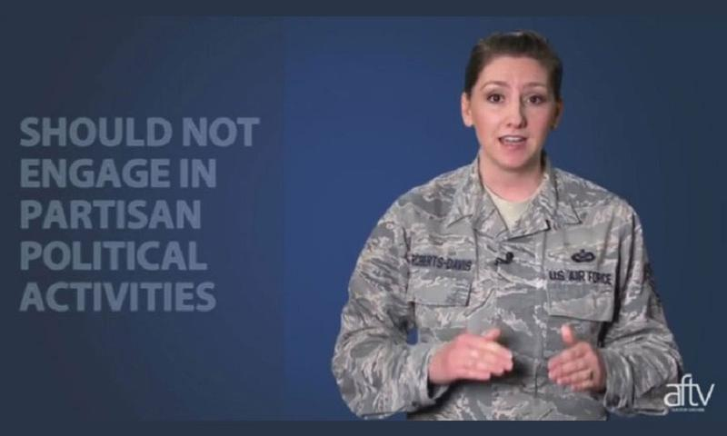 A screen capture from the Air Force informational video about online political activity. (U.S. Air Force)