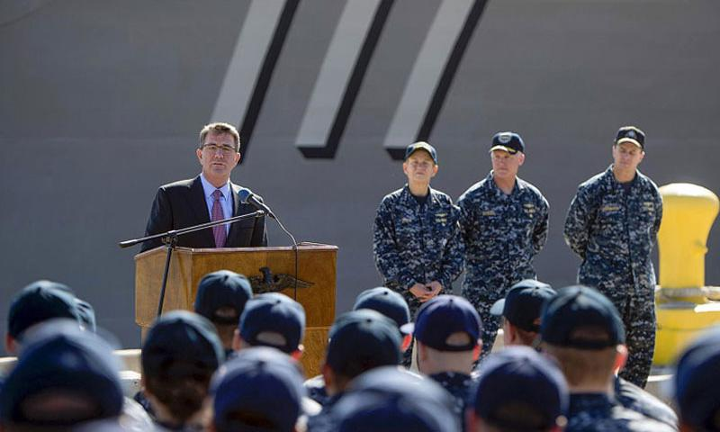 Secretary of Defense Ash Carter speaks to sailors on Feb. 3, 2016, during visit to San Diego. The Pentagon chief on Tuesday, Feb. 9, submitted a proposed $583 billion Defense Department budget for 2017 that focuses more on high-tech future conflicts. (Tim D. Godbee/U.S. Navy)