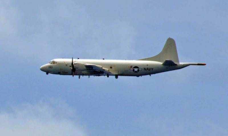 A Navy P3-C Orion and a Chinese early warning aircraft flew within 1,000 feet of each other near contested territory in the South China Sea, Wednesday, Feb. 8, 2017. (COREY BARKER/U.S. NAVY PHOTO)