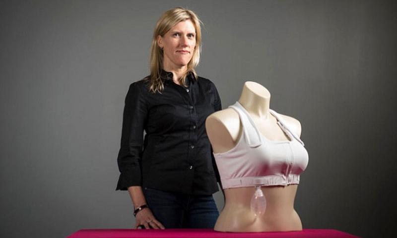 "Jen Swendseid with her company Heart & Core 's post-surgical bra, the ""Elisabeth,"" on Jan. 15, 2016 in Minneapolis, Minn. (Aaron Lavinsky/Minneapolis Star Tribune/TNS)"