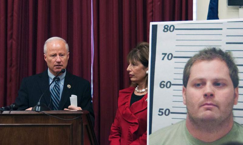 Rep. Mike Coffman, R-Colorado, answers a question at a bipartisan press conference about a new bill designed to close a military sex offender loophole in Washington, D.C. on Feb. 12, 2015. Rep. Jackie Speier, D-California, stands next to a photo of a sex offender. (Meredith Tibbetts/Stars and Stripes)
