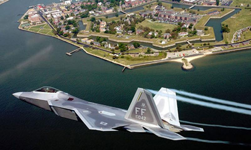The first operational F-22A Raptor is flown to its permanent home at Langley Air Force Base, Va., on May 12, 2005. (BEN BLOKER /U.S. AIR FORCE)