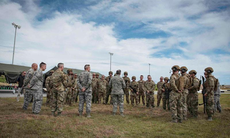 Chief of Staff of the Air Force Gen. David L. Goldfein, center, speaks to Airmen assigned to the 736th Security Forces Squadron during his visit to Andersen Air Force Base, Guam, Feb. 8, 2018. (U.S. Air Force photo by Staff Sgt. Alexander W. Riedel)