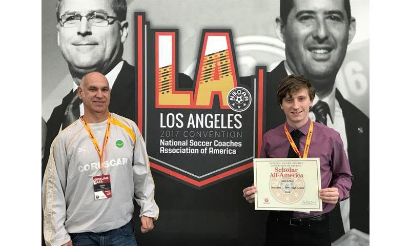 Mark Lange, Matthew C. Perry High School teacher and coach, stands with the school year 2015-16 MVP Isaac Lewis who received the Scholar All-American Award at the National Soccer Coaches Association of America 2017 Convention in Los Angeles held Jan. 11-15.