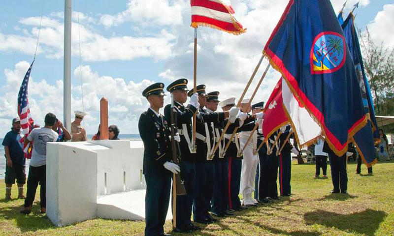 The Guam Joint Color Guard posts the colors during a July 18 ceremony in 2013.