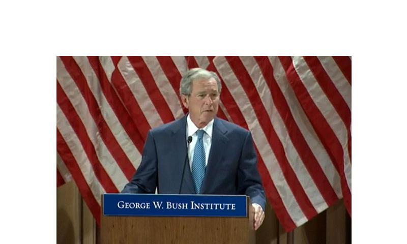 Former President George W. Bush gives remarks during the Bush Institute's Military Service Initiative Feb. 19, 2014. (Screen/YouTube)