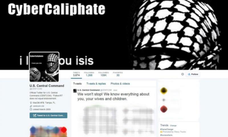 A screen capture of CENTCOM's hacked Twitter account. The five prominent military spouses that recently received threatening messages from someone claiming to represent the Islamic State had all been quoted in a January news report about the hacking of a U.S. Central Command Twitter account.