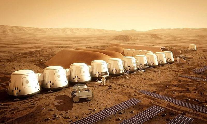An image provided by Mars One of what their future colony on the Red Planet could look like. Mars One currently plans to launch a manned mission to Mars in 2024.