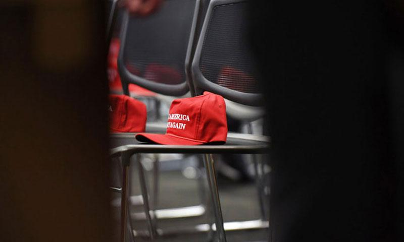 Make America Great Again hats are stocked at a Republican event at the U.S. Capitol on Nov. 15. (MATT MCCLAIN/WASHINGTON POST PHOTO)