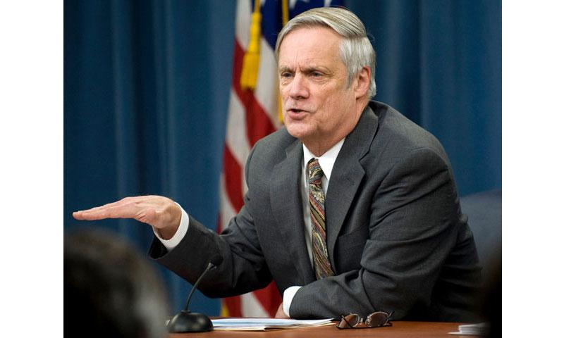 In a 2010 file photo, Under Secretary of Defense Comptroller Robert Hale takes part in a press conference. (CHERIE CULLEN/DOD)