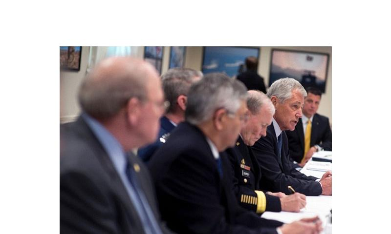 Secretary of Defense Chuck Hagel meets with Veteran and Military Service Organizations for a round table discussion at the Pentagon February 24, 2014. (Erin A. Kirk-Cuomo/Department of Defense)
