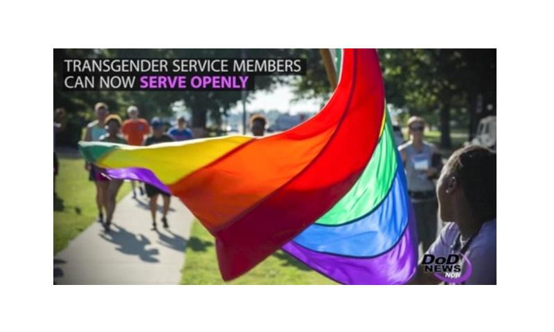 A screen grab shows a clip from a Pentagon news announcement on transgender servicemembers. (DEFENSE DEPARTMENT)