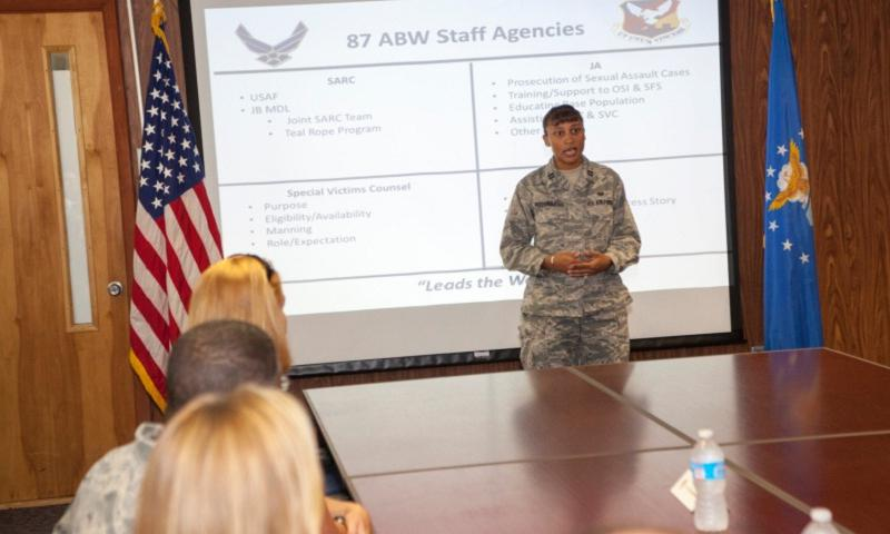 Capt. Natasha Fitzsimmons, a special victims' counsel based at Joint Base Maguire-Dix-Lakehurst, N.J., is one of 24 Air Force lawyers tasked with helping victims of sexual assault. (U.S. Air Force)