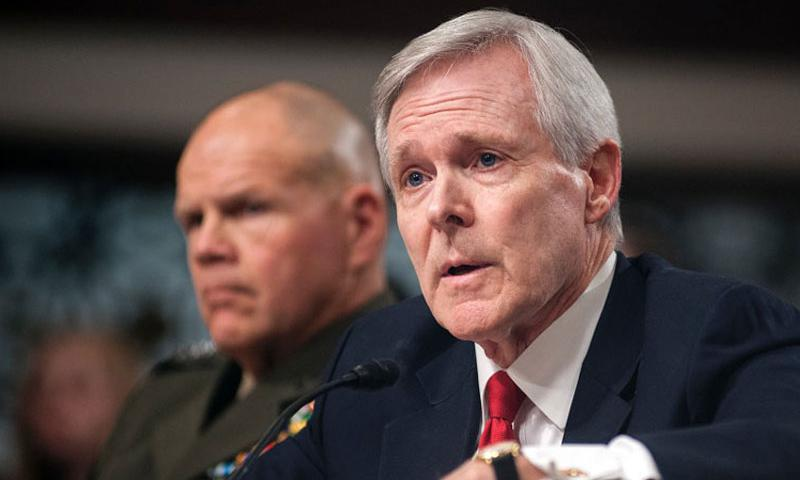 Navy Secretary Ray Mabus and Marine Corps Commandant Gen. Robert Neller attend a Senate Armed Services Committee hearing on Capitol Hill in Washington on Feb. 2, 2016. Mabus and Neller were among a chorus of military leaders voicing concerns Friday, Feb. 26, before Congress about China's military buildup in the South China Sea. (Carlos Bongioanni/Stars and Stripes)