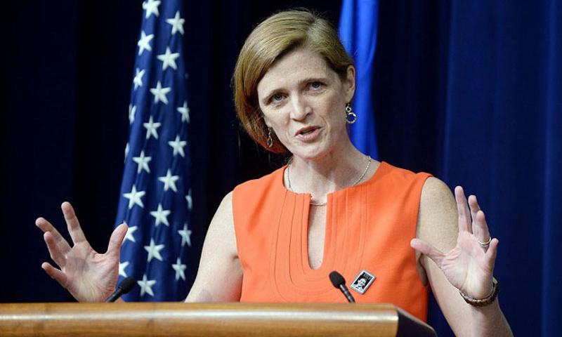 U.S. Ambassador to the United Nations Samantha Power speaks at the White House on May 22, 2014 in Washington, DC. (Olivier Douliery/Abaca Press/MCT)