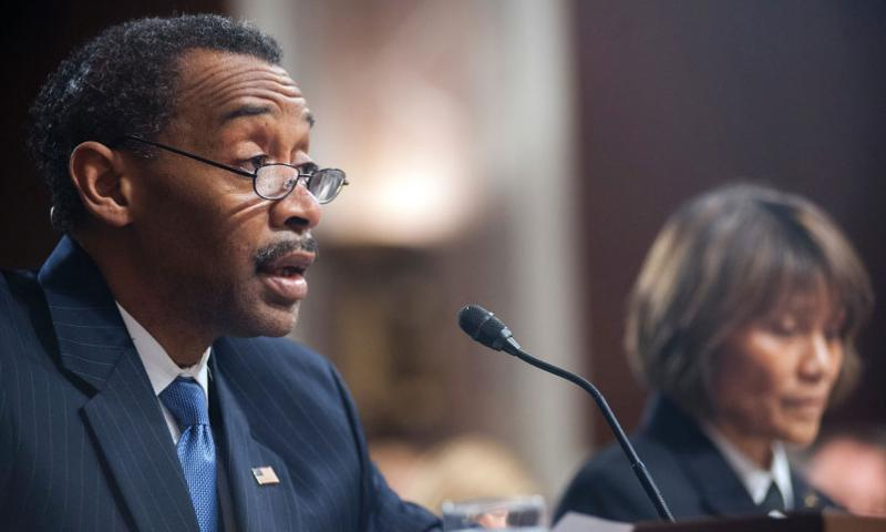 Assistant Secretary of Defense for Health Affairs Jonathan Woodson gives his opening statement during a Senate hearing on Capitol Hill in Washington, D.C., on Tuesday, Feb. 23, 2016. (Carlos Bongioanni/Stars and Stripes)