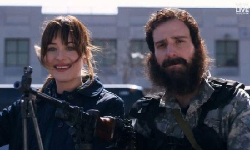 Video still of a Saturday Night Live parody ad in which actress Dakota Johnson (left) goes to join the Islamic State. (Youtube)