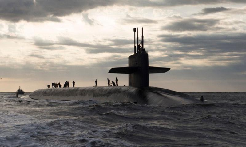 The Ohio-class ballistic missile submarine USS Rhode Island returns to base March 20, 2013, after spending 3 months at sea. (James Kimber/U.S. Navy)