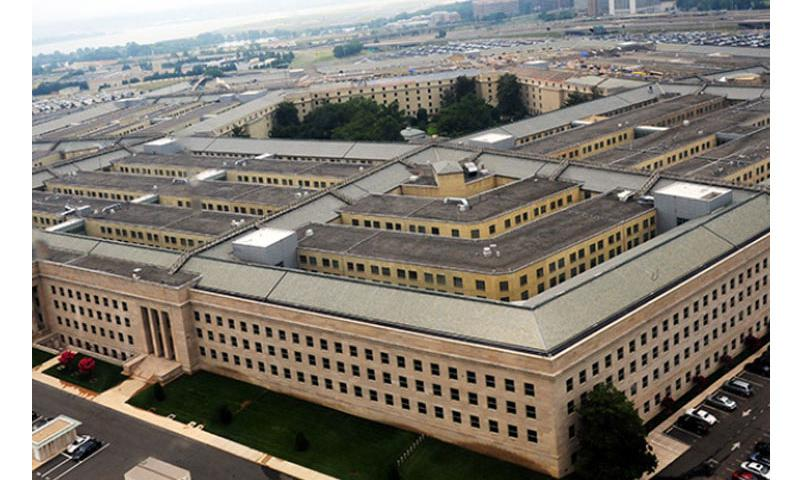 An aerial view of the Pentagon, taken from a Marine Corps CH-46 Sea Knight helicopter on July 8, 2011. (Tia Dufour/USMC)