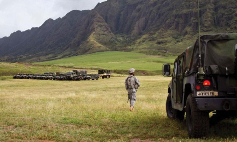 Soldiers with 8th Special Troops Battalion, 8th Theater Sustainment Command, conduct a command post exercise, CPX, to tests their ability to deploy to an austere environment and communicate with their main command post during a natural disaster anywhere in the pacific area of operations, at Makua Valley military reservation, Oahu, Hawaii, Feb 27, 2012. (Tiffany Dusterhoft/U.S. Army)