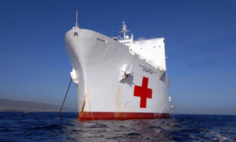 In this file photo from Sept. 2, 2007, Military Sealift Command hospital ship USNS Comfort is seen anchored off the coast of Haiti. (U.S. Navy)