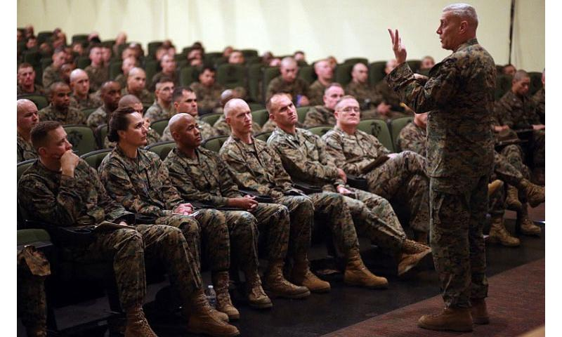Assistant Commandant of the Marine Corp Gen. John Paxton speaks to Marines and civilians about the future of the Corps on Feb. 25, 2016, while visiting Marine Corps Recruit Depot Parris Island, S.C. Testifying before Congress on Tuesday, March 15, Paxton expressed concerns about the readiness of Marines to fight if called upon in an unexpected crisis. (Colby Cooper/U.S. Marine Corps)