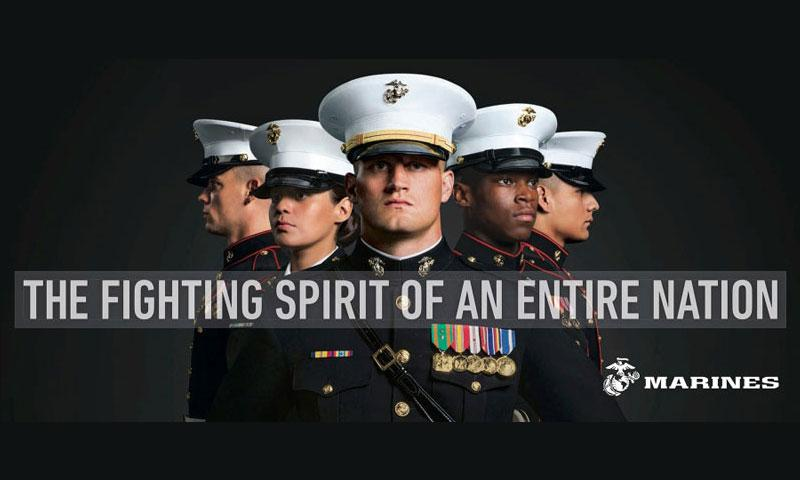 A billboard the Marine Corps will post as part of a new recruitment advertisement campaign is meant to draw millennials by showing Marines as not only strong warriors but good citizens. (U.S. MARINE CORPS)