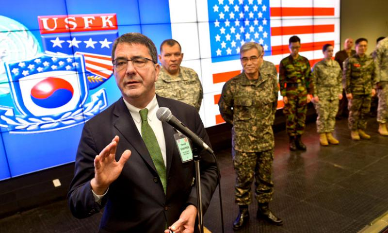 Deputy Defense Secretary Ash Carter addresses U.S. and South Korean forces assigned to the joint operations center of Command Post TANGO near Seoul, South Korea, March 18, 2013. Carter thanked the troops for their service and reminded them to thank their family members for the sacrifices they make in serving their countries. DOD photo by Glenn Fawcett