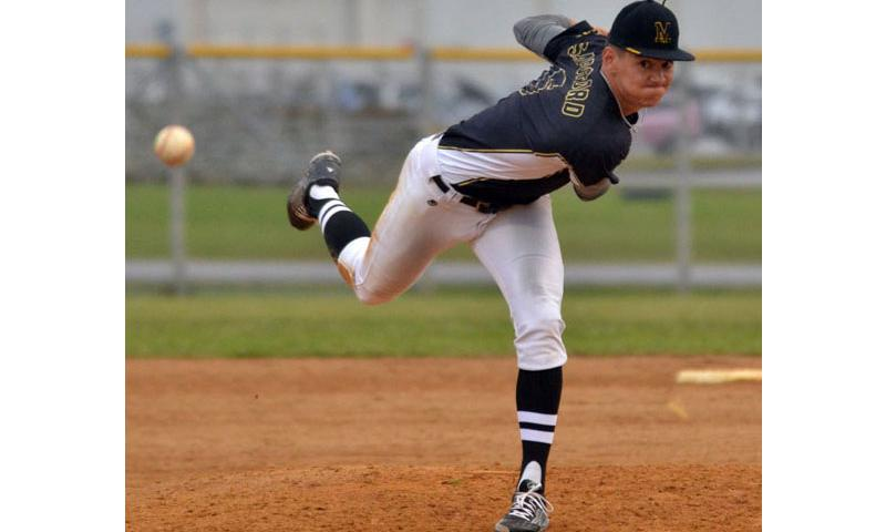 American School In Japan senior right-hander Tyler Sapsford struck out 10 batters in 5 2/3 innings of work, getting a win and a save in the Mustangs' doubleheader sweep of Kubasaki on March 18, 2016. (Dave Ornauer/Stars and Stripes)