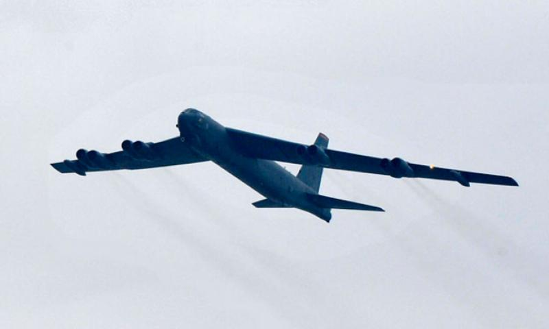 A B-52 Stratofortress conducts a training flight over the Republic of Korea, March 19, 2013. As part of the U.S. Pacific Command's Continuous Bomber Presence, the crew practiced dropping bombs on targets at Pilsung Range. (U.S. Air Force photo/Staff Sgt. Emerson Nunez)