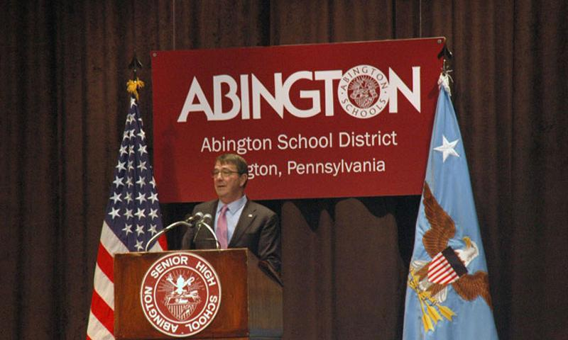 Secretary of Defense Ash Carter speaks to students at Abington Senior High in Abington, Pa. on Mar. 30. (Jon Harper/Stars and Stripes)