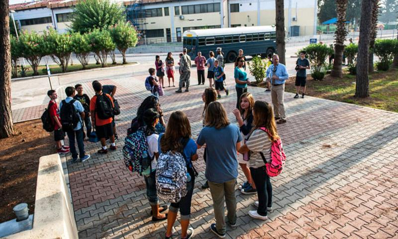 Children gather for the first day of school at Incirlik Air Base, Turkey, on Aug. 26, 2013. The Defense Department has announced on Tuesday, March 29, 2016, that it will start the evacuation all 670 dependents from the base for force-protection reasons. (Courtesy U.S. Air Force)
