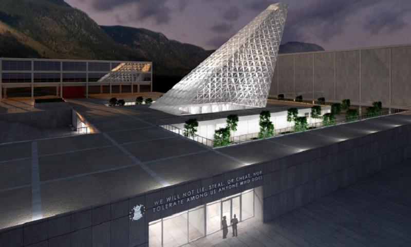 An artist's rendering of the new Center for Character Leadership and Development, adjacent to Arnold Hall and Harmon Hall at the U.S. Air Force Academy. It's the biggest architectural addition to the school since Sijan Hall was built in the 1960s. (USAF)
