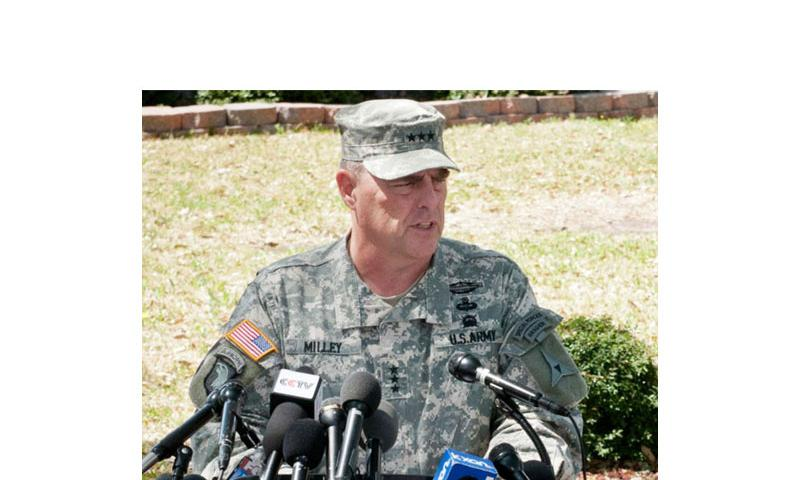 Lt. Gen. Mark A. Milley, III Corps and Fort Hood commanding general, addresses the media during a press conference at Fort Hood, Texas, April 4, 2014. (Ken Scar/U.S. Army)