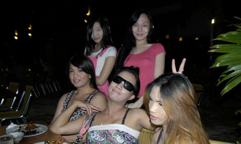 A group of Jennifer Laude's transgender Filipina friends pose in Olongapo City, Philippines, in March 2015. (Seth Robson/Stars and Stripes)